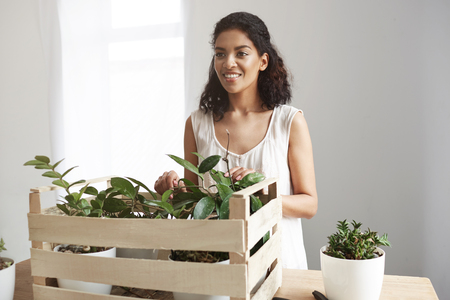 floristics: Beautiful african girl smiling taking care of plants in box at workplace. White wall. Stock Photo