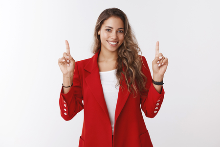 Creative gorgeous businesswoman making presentation pointing up index fingers smiling broadly looking self-assured discussing business income profit, assure client make investment Stock fotó