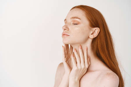 Beauty. Young redhead woman with pale smooth skin, standing in profile and enjoying touching clean perfect face, concept of skincare and cosmetology Stock Photo