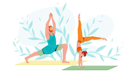 Young People In Sportswear Practicing Yoga Vector. Characters Man In Warrior Pose And Sporty Flexible Woman Handstand Yoga Exercise With Splitted Legs. Relaxation And Balance Flat Cartoon Illustration