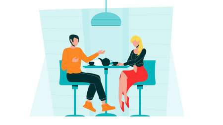 Romantic Couple Dating In Cafe Communicate Vector. Characters Dating In Restaurant Discussing, Talking And Drink Tea. Man And Woman Spending Time Together Flat Cartoon Illustration