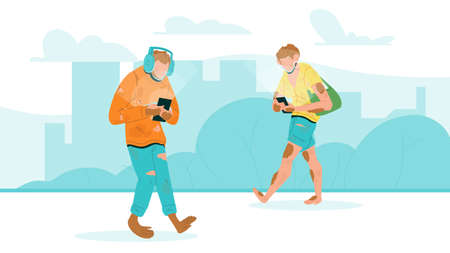 Humanity Degradation With Phone Walking Vector. Characters Human Men Walk On Street And Looking At Smartphone And Wearing Earphones. Gadget Addiction Problem Flat Cartoon Illustration