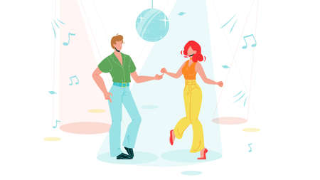 Boy And Girl Dancing Funk Dance Vector. Dancer Young Man And Woman Dancing Hip Hop, Disco Sphere And Sound Notes On Background. Music Club, Active Lifestyle Flat Cartoon Illustration Banque d'images - 150880088