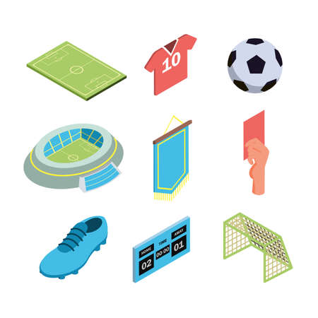 Soccer Game Sport Equipment Collection Isometric Set Vector. Soccer Field And Stadium, Player T-shirt And Shoe, Football Ball And Gate, Scoreboard And Red Card. Sportive Illustrations
