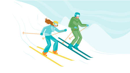 Man And Woman Skiing Downhill From Hill Vector. Young Boy And Girl Skiers Skiing Down From Snow Mountain. Characters Winter Seasonal Activity Extreme Sport Flat Cartoon Illustration Ilustrace