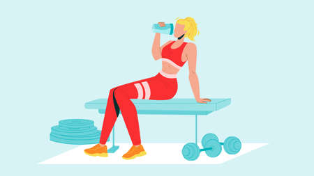 Woman Drink Protein Cocktail From Shaker Vector. Sportive Girl Sitting On Gym Bench And Drinking Protein Refreshment Beverage After Exercise. Character And Sport Equipment Flat Cartoon Illustration