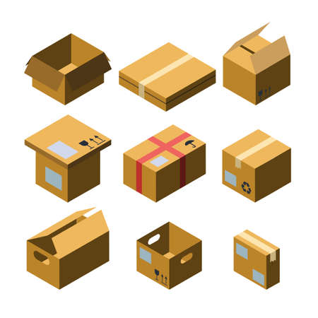 Cardboard Box Different Size Collection Isometric Set Vector. Blank Closed And Opened Empty Box. Delivery And Transportation Carton Package Fragile Signs. Container For Shipping Storage Illustrations