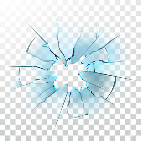 Smashed Glass Window Smashed Bullet Hole Vector. Crashed Car Windshield , Damaged And Shattered Transparency Glass. Destruction Texture Material Transparent Layout Realistic 3d Illustration Ilustração