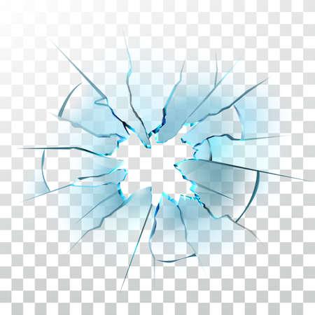 Smashed Glass Window Smashed Bullet Hole Vector. Crashed Car Windshield , Damaged And Shattered Transparency Glass. Destruction Texture Material Transparent Layout Realistic 3d Illustration