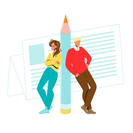 Copywriters Man And Woman Leaned Pencil Vector. Copywriters Author Or Editors Document Or Newspaper List With Article On Background. Characters Journalist Flat Cartoon Illustration Stock Illustratie