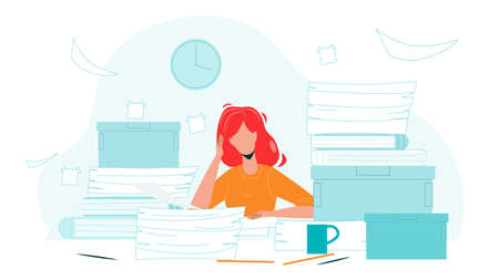 Woman Employee Clutter Office Workplace Vector. Girl Holding Head Sitting At Clutter Working Table With Paper Pile. Character Businesswoman Worker, Missing Deadlines Flat Cartoon Illustration Ilustrace