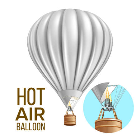 Hot Air Balloon Airship Traveling Transport Vector. Blank Air Balloon With Basket And Burning Heating Gas Equipment. Flying Transportation Colorful Template Realistic 3d Illustration Illustration