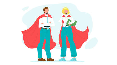 Bravery Super Heroes Courage Man And Woman Vector. Bravery Boy Businessman And Girl Businesswoman Wearing Super Hero Costume And Red Cape. Daring Characters Flat Cartoon Illustration