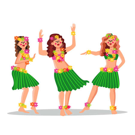 Hula Girls Dancing Funny Dance Together Vector. Beautiful Young Happy Hawaiian Hula Girls Dancers In Grass Skirts Cultural Dress Decorated Flowers. Tropical Characters Flat Cartoon Illustration