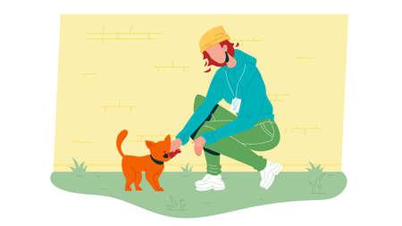 Woman Volunteer Feed Homeless Cat Vector. Young Girl Volunteer Working In Animal Shelter, Caring And Nourish Feeding Kitten Pet. Person Volunteering Flat Cartoon Illustration