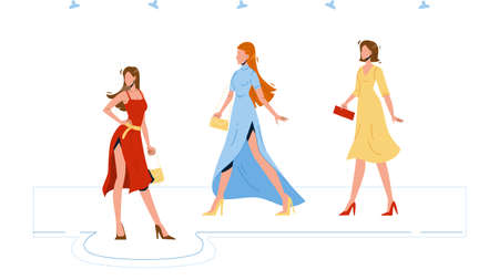 Model Girls Wear Fashion Apparel On Podium Vector. Young Women in Fashionable Clothing Walking On Runway Demonstrating New Collection Of Apparel. Characters Flat Cartoon Illustration