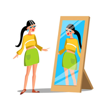 Girl Fashion Character Watch In Mirror Vector. Narcissistic Long-haired Woman Standing In Front Of Mirror And Looking At Herself Reflection. Dressed Beautiful Lady Flat Cartoon Illustration 向量圖像