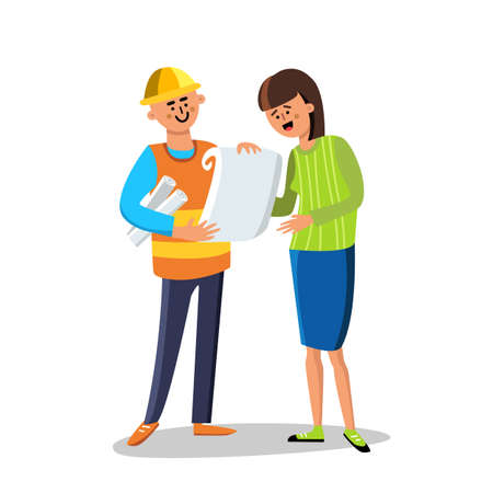 Engineer Builder Discussing With Woman Vector. Character Builder Man Wearing Construction Suit And Helmet With Paper List Speaking With Happy Smiling Young Lady. Flat Cartoon Illustration
