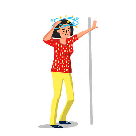 Dizziness Sick Young Woman Leaned Wall Vector. Standing Character With Dizziness Or Headache Girl, Suffering Lady. Dizzy And Head Pain Migraine Disease Symptom Flat Cartoon Illustration