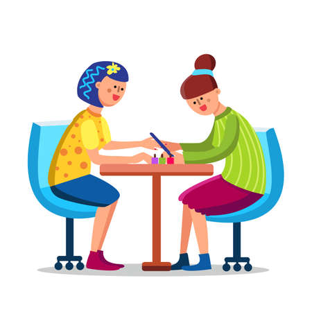 Woman Make Manicure With Nail File In Salon Vector. Girl Receiving Fingernail Elegant Manicure By Beautician. Characters In Chair With Fashion Cosmetic On Table Flat Cartoon Illustration Stock Illustratie