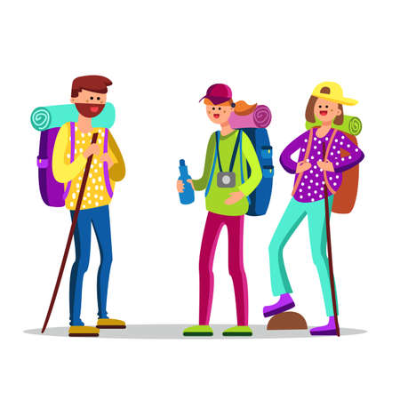 Hikers Characters With Touristic Equipment Vector. Happy Smiling Hikers People With Hiking Accessories Backpack And Sleeping Bag, Stick And Water Bottle. Mountain Adventure Flat Cartoon Illustration