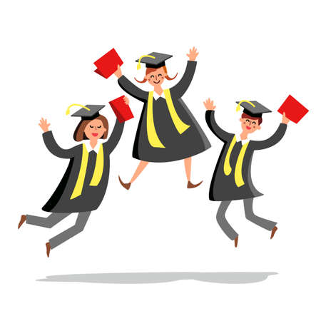 Students Jumping And Celebrate Graduation Vector. Characters Happy And Smiling Young Students Boy And Girls With Diplomas Wear Gown And Hat. University Graduate Celebration Flat Cartoon Illustration 向量圖像