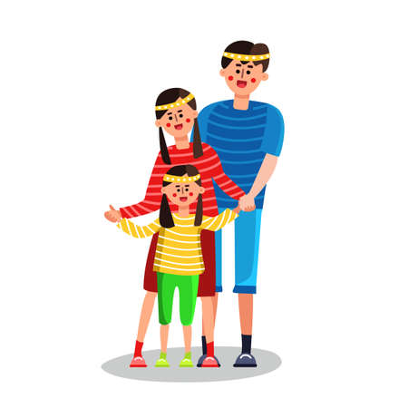 Happy Family Father, Mother And Little Girl Vector. Heredity. Characters Young Laughing Happy Family, Man Daddy, Woman Mom Parents And Small Child Daughter Standing Together. Flat Cartoon Illustration