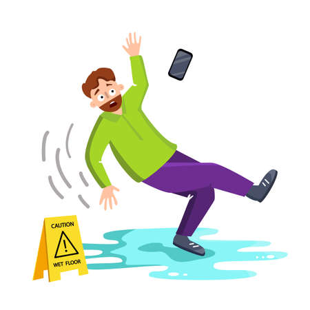 Man Falling On Wet Floor Near Caution Sign Vector. Character Adult Male Fall Down On Wet Floor, Flying Mobile Phone, Warning Plastic Nameplate. Danger Accident Flat Cartoon Illustration