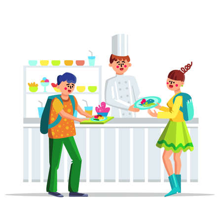 Children Lunch In School Canteen Cafeteria Vector. Happy Smiling Teenagers Students Or Pupils With Dish And Cooker In Canteen Dining Hall. Food Snack Characters Flat Cartoon Illustration Banque d'images - 150880334