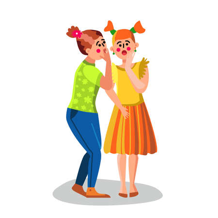Girl Whispering Secret Talking News To Ear Vector. Young Woman Whispering Something Friend, Whisper. Gossiping Characters Couple Communication Malicious Talk Conversation Flat Cartoon Illustration