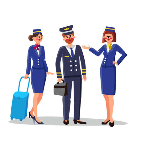 Pilot And Stewardesses Wearing Uniform Vector. Happy Smiling Bearded Man Pilot Holding Container And Beautiful Flight Attendants Women With Luggage. Characters Flat Cartoon Illustration