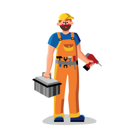 Repair Man Holding Drill And Instrument Box Vector. Repairman Tech Assistance Wearing Working Suit Hold Toolbox And Equipment For Fixing. Character Technical Service Flat Cartoon Illustration