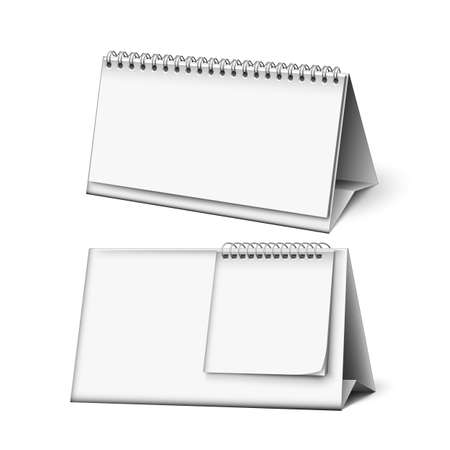 Blank Calendar Planning Work Accessory Mockup Vector. Schedule To Make Appointment Meeting Or Manage Timetable Each Day. Carton Material Organizer And Planner Template Realistic 3d Illustration