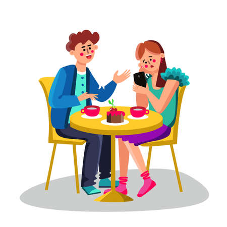 Young Woman With Smartphone Ignore Man Vector. Character Girlfriend Ignore Boyfriend And Sitting On Chair, Boy Try Talking With Girl. Drink Cups And Cherry Cake. Cafe Flat Cartoon Illustration