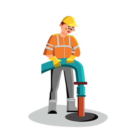 Sewer Cleaning Man Worker Plumbing Service Vector. Professional Plumber In Special Clothes Uniform Holding Canalization Tube And Sewer Cleaning. Character Working Flat Cartoon Illustration