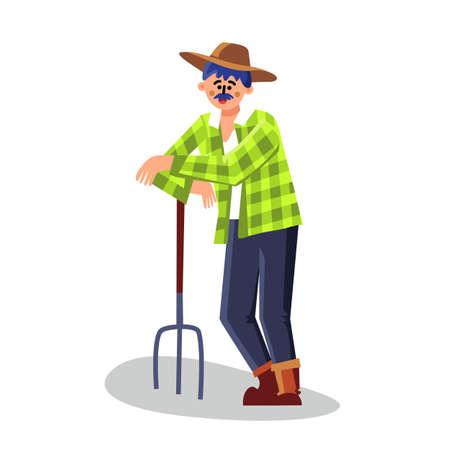 Farmer Standing With Pitchfork Equipment Vector. Farmer Gardener Man Holding Rake Agricultural Instrument. Character Agriculture Worker Farming Profession Flat Cartoon Illustration Illustration