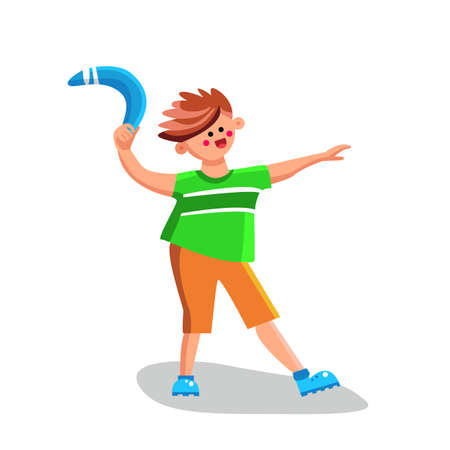 Boy Throwing Boomerang Playing Equipment Vector. Happy Smiling Little Child Person Play Throw Boomerang Hunter Tool. Playful Funny Time Activity Character Flat Cartoon Illustration Stock Illustratie