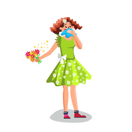 Allergy Woman Sneezing In Handkerchief Vector. Allergy Young Girl Blowing In Napkin, Allergic Reaction Of Immune System On Seasonal Flowers Bouquet. Character Flat Cartoon Illustration