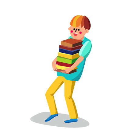 Literacy Boy Student Carries Bunch Of Books Vector. Smiling Happy Literacy Teenager Carrying Education And Reading Literature. Character Pupil With Study Library Flat Cartoon Illustration