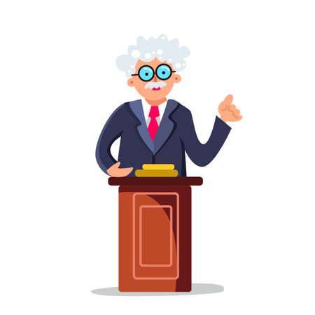 Professor Speaking Performance On Tribune Vector. Character Senior Lecturer Professor Standing At Wooden Podium. Elderly Political Or University Orator Talk Speech Flat Cartoon Illustration