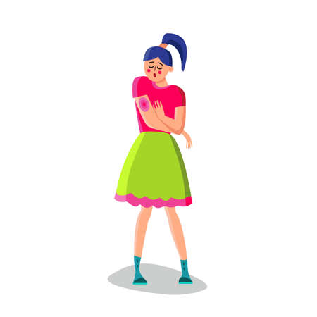Young Woman With Rash On Hand Vector. Sad Girl With Allergic Rash On Arm. Dermatology Red Skin Disease Itch Cause Due To Allergies To Creams Or Air Flat Cartoon Illustration