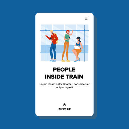 People Inside Train Passengers Traveling Vector. Human Young Man And Woman Traveling In Train Locomotive Wagon, Public Transportation. Characters In City Transport Web Flat Cartoon Illustration Stock Illustratie