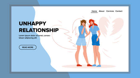 Unhappy Relationship Girlfriends Couple Vector. Woman Breakup Dissatisfied Displeased Girl, Unhappy Relationship Difficulties Unhappy Relationship. Lesbian Lovers Separation Web Cartoon Illustration