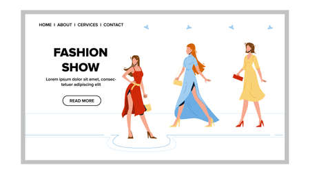 Fashion Show Glamor Clothes Presentation Vector. Model Young Woman Wear Elegant Apparel Walk Catwalk And Demonstrating Accessory Collection Fashion Show. Characters Web Cartoon Illustration