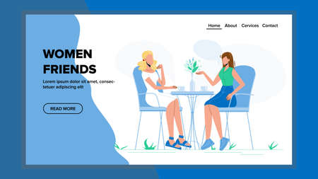 Women Friends Meeting And Breakfast In Cafe Vector. Young Women Friends Relaxation In Restaurant. Drink Cups and Flower Vase On Table. Characters Communication Web Cartoon Illustration