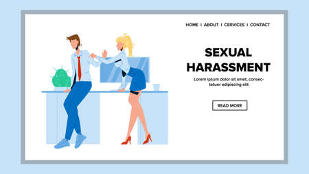 Sexual Harassment Employer To Colleague Vector. Young Woman Touching Sexual Harassment And Flirting With Man. Character Girl Touch Guy Worker In Office Web Flat Cartoon Illustration