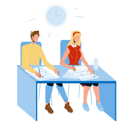Student Exam Write On Paper Answer Sheet Vector. Student Boy And Girl Sitting At Table And Write Test In Classroom. Characters School Or University Education Flat Cartoon Illustration