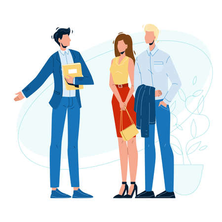 Seller Manager And Clients In Showroom Vector. Businessman Speaking With Young Couple Man And Woman In Showroom. Characters Choosing And Buying Shop Service Flat Cartoon Illustration