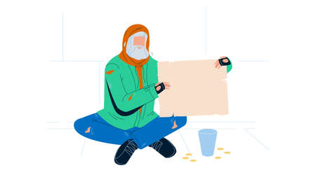 Beggar Sitting On Floor And Holding Carton Vector. Beggar Man Sit On Street Hold Blank Piece Of Paper Cardboard, Near Cup And Scattered Coins Money. Character Flat Cartoon Illustration