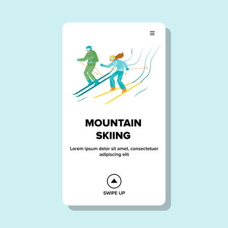 Mountain Skiing Active Sportive Vacation Vector. Man And Woman Skiing Downhill From Hill. Skiers Going From Snow Climb. Characters Winter Seasonal Activity Extreme Sport Web Flat Cartoon Illustration